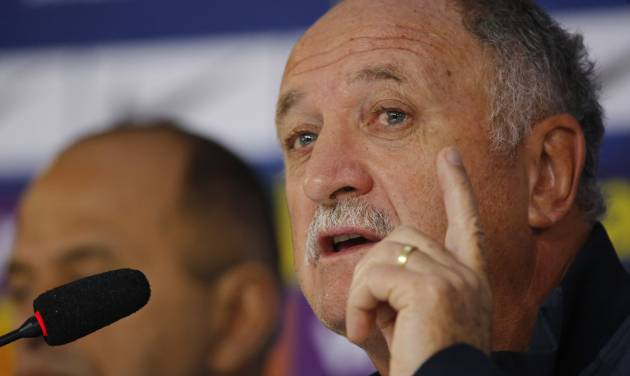 Brazil's coach Luiz Felipe Scolari answers questions during a press conference at the Granja Comary training center in Teresopolis, Brazil, Wednesday, July 9, 2014. Brazilians woke up this morning to dreadful headlines describing their soccer team's historic defeat of 7-1 to Germany in the World Cup's semifinal. (AP Photo/Leo Correa)