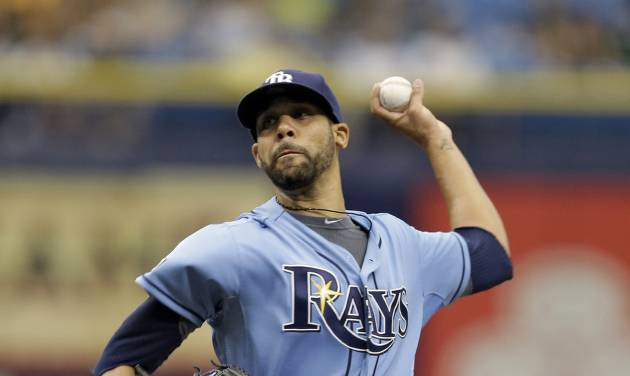 Tampa Bay Rays starting pitcher David Price delivers to the Pittsburgh Pirates during the first inning of an interleague baseball game Wednesday, June 25, 2014, in St. Petersburg, Fla. (AP Photo/Chris O'Meara)