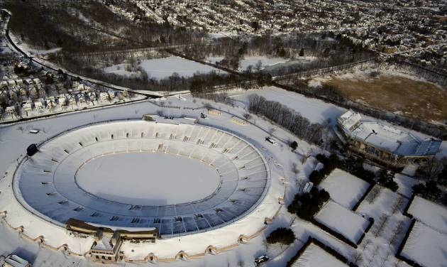The Yale Bowl in New Haven, Connecticut, is blanketed in snow Sunday, Feb. 10, 2013, in the aftermath of a storm that hit Connecticut and much of the New England states. (AP Photo/Craig Ruttle)