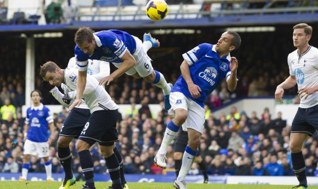 Everton's Philip Jagielka, upper left, and Leon Osman, centre right, head a ball clear during their team's English Premier League soccer match against Tottenham at Goodison Park Stadium, Liverpool, England, Sunday Nov. 3, 2013. (AP Photo/Jon Super)