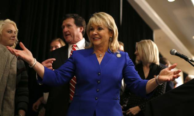 Governor Mary Fallin greets supporters during her speech at the Republican watch party in Oklahoma City, Tuesday, Nov. 4, 2014.  Photo by Sarah Phipps, The Oklahoman
