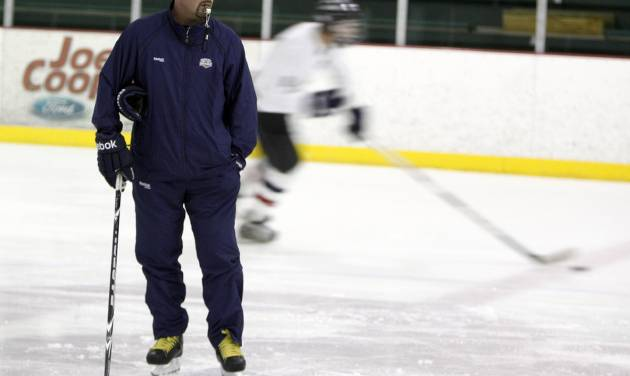Todd Nelson helps coach his son's hockey team at the Blazers Ice Centre in Oklahoma City, Wednesday, Aug. 24, 2011. Photo by Sarah Phipps, The Oklahoman