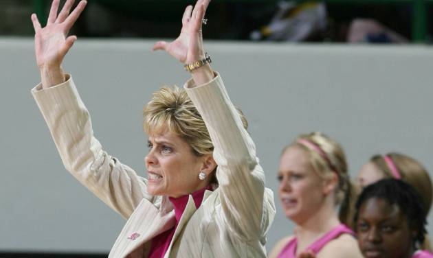 Baylor coach Kim Mulkey shouts instructions to her players during the first half of a game against Missouri on Feb. 14 in Waco, Texas. Baylor won 72-43. (AP Photo/Duane A. Laverty)