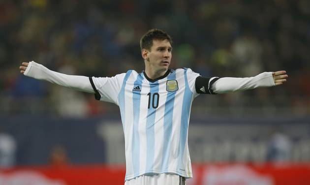 Argentina's Lionel Messi reacts during an international friendly soccer game against Romania on the National Arena stadium in Bucharest, Romania, Wednesday, March 5, 2014.. (AP Photo/Vadim Ghirda)
