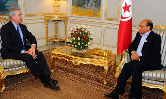 Tunisia's President Moncef Marzouki, right, speaks with William Burns, US Deputy Secretary of State, at the Carthage presidential palace, Tunis Thursday, Dec. 13, 2012. (AP Photo/Hassene Dridi)