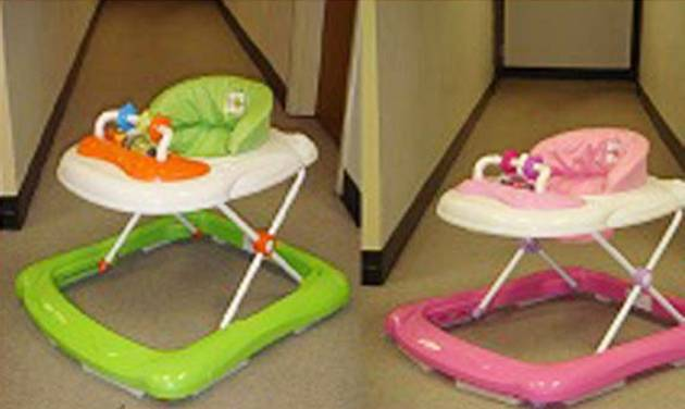 This undated photo provided by the U.S. Consumer Product Safety Commission shows BebeLove Baby Walkers. The BebeLove Baby Walkers, Model Nos. 358 and 368, are being recalled because they failed to meet federal safety standards. Specifically, style number 358 can fit through a standard doorway and is not designed to stop at the edge of a step as required by the federal safety standard. In addition, style number 368 contains leg openings that allow the child to slip down until the child's head can become entrapped at the neck. (AP Photo/U.S. Consumer Product Safety Commission)