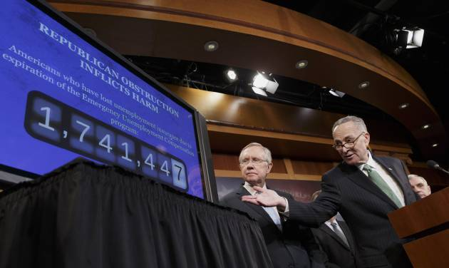 Sen. Charles Schumer, D-N.Y., the Democratic Policy Committee chairman, right, accompanied by Senate Majority Leader Harry Reid of Nev., points to a graphic during a news conference on Capitol Hill in Washington, Thursday, Feb. 6, 2014, where they told reporters that Republicans are thwarting Democratic efforts pass a bill to extend unemployment benefits which expired at the end of last year.  (AP Photo/J. Scott Applewhite)