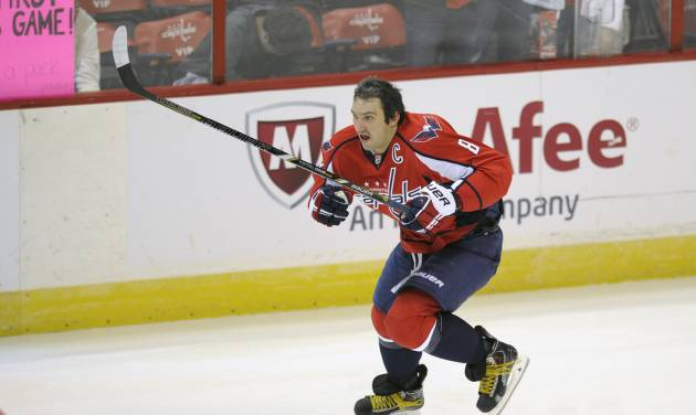 Washington Capitals right wing Alex Ovechkin (8), of Russia, skates during warm ups before an NHL hockey game against the New York Islanders, Tuesday, Nov. 5, 2013, in Washington. (AP Photo/Nick Wass)