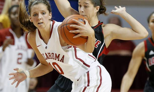 Oklahoma's Morgan Hook, front, gains control of the ball in front of Louisville's Jude Schimmel during the second half of an NCAA college basketball preseason WNIT championship game in Norman, Okla., Sunday, Nov. 17, 2013. Louisville won 97-92. (AP Photo/Bryan Terry)