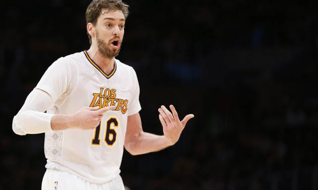 Los Angeles Lakers center Pau Gasol argues a call while playing against the Oklahoma City Thunder during the second half of an NBA basketball game in Los Angeles, Sunday, March 9, 2014. The Lakers won 114-110. (AP Photo/Danny Moloshok)