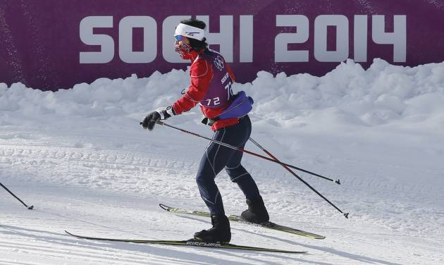 Norway's Marit Bjoergen trains on the cross country slope prior to the 2014 Winter Olympics, Wednesday, Feb. 5, 2014, in Krasnaya Polyana, Russia. (AP Photo/Matthias Schrader)