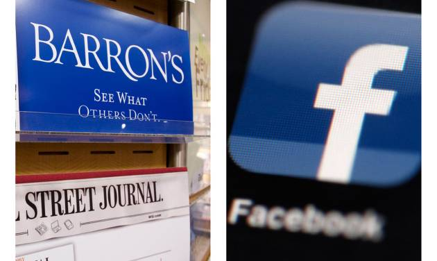 """This combination of Associated Press file photos, show advertising for the financial magazine Barron's on display in New York on July 23, 2007, and the Facebook logo on an iPad in Philadelphia on May 16, 2012. Facebook Inc.'s stock took a hit Monday, Sept. 24, 2012, after an article in Barron's said it is """"still too pricey"""" despite a sharp decline since its initial public offering. (AP Photo/File)"""