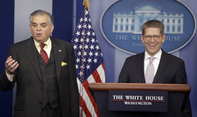 White House press secretary Jay Carney and Transportation Secretary Ray LaHood brief reporters regarding the sequester, Friday, Feb. 22, 2013, at the White House in Washington. (AP Photo/Charles Dharapak)