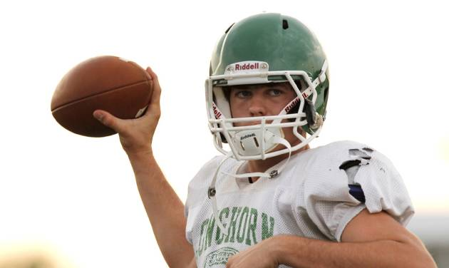Jones quarterback David Cornwell during a high school football scrimmage between Bethany and Jones at Bethany Bronco Stadium, Thursday, August 22, 2012. Photo by Doug Hoke, The Oklahoman.
