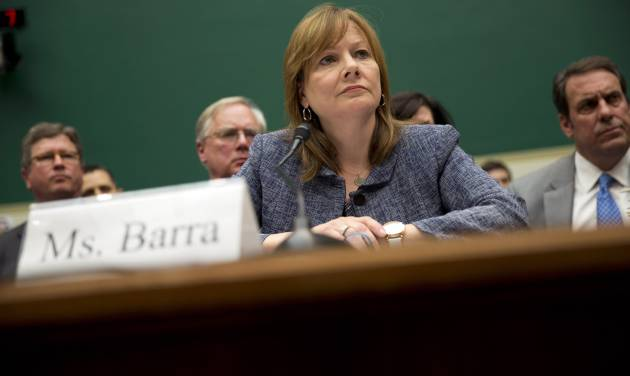 FILE - In this April 1, 2014 file photo, General Motors CEO Mary Barra testifies on Capitol Hill in Washington before the House Energy and Commerce subcommittee on Oversight and Investigation. Barra is preparing for a return trip to Capitol Hill as an internal investigation into the company's safety problems nears a close. (AP Photo/Evan Vucci, File)