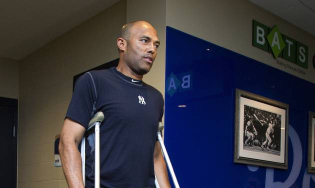 New York Yankees pitcher Mariano Rivera steps outside the clubhouse before a baseball game against the Kansas City Royals in Kansas City, Mo., Friday, May 4, 2012. Rivera tore the anterior cruciate ligament and damaged the meniscus in his right knee while shagging fly balls during batting practice Thursday. (AP Photo/The Kansas City Star, John Sleezer)