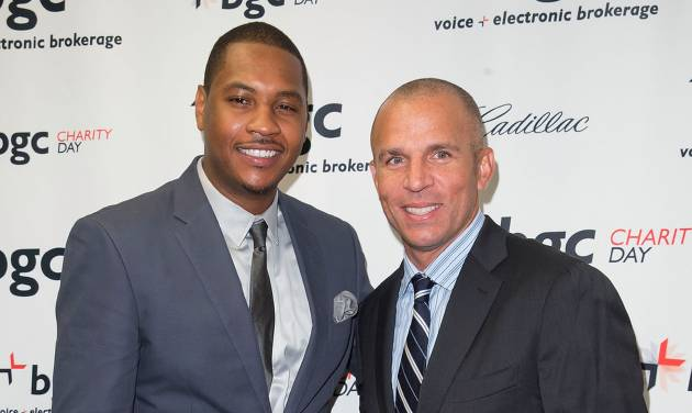 Carmelo Anthony, left, and Jason Kidd arrives at the Annual Charity Day hosted by Cantor Fitzgerald and BGC Partners, on Wednesday, Sept. 11, 2013 in New York. (Photo by Ben Hider/Invision/AP)
