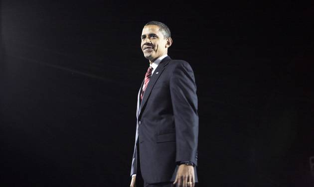 President-elect Barack Obama smiles Tuesday night after his acceptance speech in Chicago.