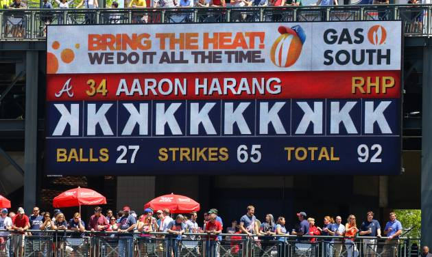The Bring The Heat scoreboard shows the strikeouts of Atlanta Braves pitcher Aaron Harang during the sixth inning of a  baseball game against the Miami Marlins on Wednesday, April 23, 2014, in Atlanta. (AP Photo/Atlanta Journal Constitution, Curtis Compton) MARIETTA DAILY OUT, GWINNETT DAILY POST OUT) LOCAL TV OUT (WXIA, WGCL, FOX 5)
