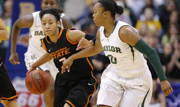 Oklahoma State's Tiffany Bias (3) goes past Baylor's Odyssey Sims (0) during the Big 12 tournament women's college basketball game between Oklahoma State University and Baylor at American Airlines Arena in Dallas, Sunday, March 10, 2012.  Oklahoma State lost 77-69. Photo by Bryan Terry, The Oklahoman