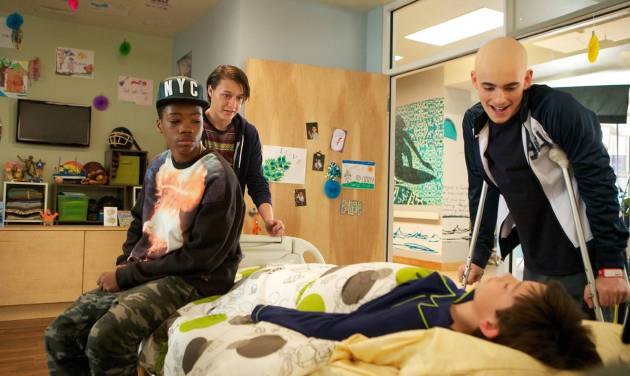 """This image released by Fox shows, from left, Brian Bradley, Nolan Sotillo, Griffin Gluck and Charlie Rowe from the """"Red Band Society,"""" premiering Sept. 17. (AP Photo/Fox, Annette Brown)"""