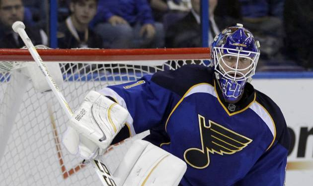 St. Louis Blues goalie Brian Elliott gets up after allowing a goal by Phoenix Coyotes' Mikkel Boedker, of Denmark, during the third period of an NHL hockey game on Friday, April 6, 2012, in St. Louis. The Coyotes won 4-1. (AP Photo/Jeff Roberson)