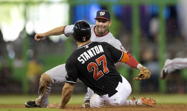 Miami Marlins runner Giancario Stanton (8) steals second and then goes to third after Washington Nationals' Danny Espinosa, rear, misplayed the ball during the sixth inning of a baseball game in Miami, Wednesday, July 30, 2014. The Nationals won 4-3. (AP Photo/J Pat Carter)