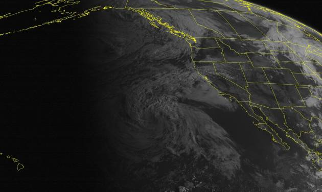 This NOAA satellite image taken Friday, Aug. 29, 2014, at 11:00 a.m. EDT shows the remnants of Tropical Storm Marie far off the coast of California bringing rough surf to many southern California beaches. An area of low pressure enters the Pacific Northwest with rain showers. High pressure dominates over the southwestern United States with mostly sunny skies. (AP Photo/Weather Underground)
