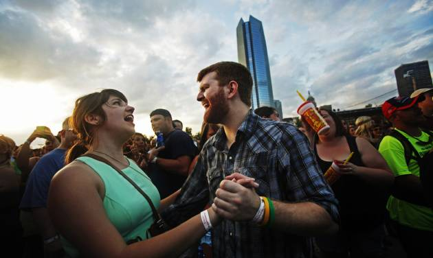 Cayla Lewis and Michael Hendrick, of Oklahoma City, dance as the Josh Abbott Band performs at OKCFest in downtown Oklahoma City on Friday. OKCFest is a two-day country music festival with multiple stages downtown. Photos by KT King, The Oklahoman