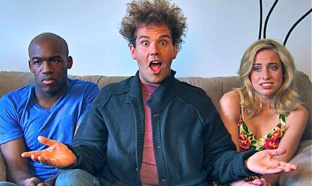 """This image released by City of Sass shows Nnamdi Ngwe, left, Jake Sasseville,and Molly Miller, right, in a scene from the loosely scripted comedy series, """"Delusions of Grandeur."""" Sasseville, the former late night talk show host of """"Late Night Republic,"""" purchased eight 30-minute blocks on ABC Family to launch his series in October but ABC declined to air it because it did not meet their standards for programming for time buy purchases. But he was able to get his series on Blip and the pilot episode debuted on Oct. 3. (AP Photo/City of Sass)"""