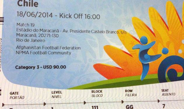 "This June 4, 2014 photo shows a $90 U.S. dollar FIFA ticket for the Spain vs. Chile World Cup game, bought by a fan on Stubhub.com, a website that connects buyers and sellers, for $775 U.S. dollars, in San Juan, Puerto Rico. Brazilian police have widened their investigation into ticket scalping at the World Cup to include ""the participation of someone from FIFA"" as a source of tickets being resold on the street for many time their face value. (AP Photo)"