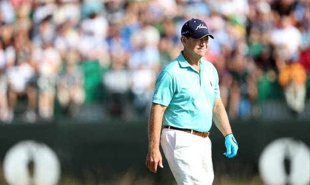 Tom Watson of the US walks up to the 4th tee box during the first day of the British Open Golf championship at the Royal Liverpool golf club, Hoylake, England, Thursday July 17, 2014. (AP Photo/Scott Heppell)