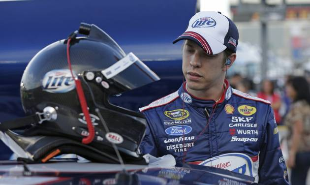 FILE - In this May 23, 2013 file photo, Brad Keselowski prepares for qualifying for the NASCAR Sprint Cup series Coca-Cola 600 auto race at Charlotte Motor Speedway in Concord, N.C. Keselowski heads to Kentucky Speedway this weekend looking to snap out of the season-long slump his No. 2 Penske Racing team has been stuck in since winning the Sprint Cup title. (AP Photo/Chuck Burton, File)