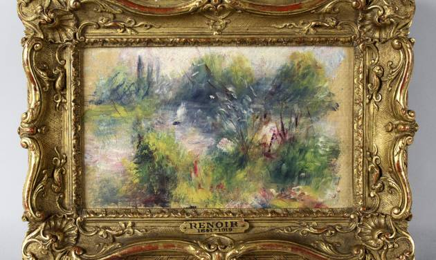 FILE - This file image released by Potomack Company shows an apparently original painting by French impressionist Pierre-Auguste Renoir that was acquired by a woman from Virginia who stopped at a flea market in West Virginia and paid $7 for a box of trinkets that included the painting. A federal judge will hear arguments Wednesday Jan. 10, 2014 on whether the napkin-sized painting by French impressionist Pierre-Auguste Renoir should go to a Baltimore museum or a Virginia woman. (AP Photo/Potomack Company, File)