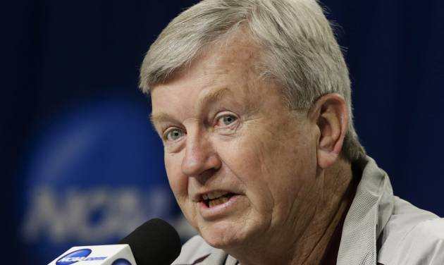 Texas A&M coach Gary Blair speaks during a news conference ahead of NCAA college basketball practice in Lincoln, Neb., Friday, March 28, 2014. Texas A&M will play DePaul in an NCAA Lincoln Regional women's semifinal basketball game on Saturday. (AP Photo/Nati Harnik)