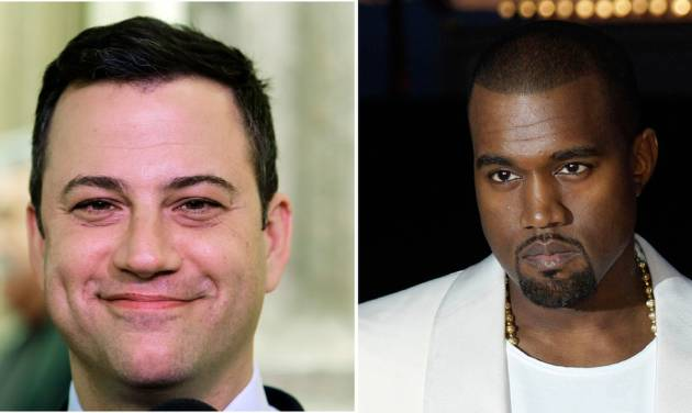 """This combo of photos shows Jimmy Kimmel seen in a Jan. 25, 1013 file photo left and Kanye West seen in a May 23, 2012 file photo. Kimmel and West either are engaged in a bitter feud or a heck of a parody. Kimmel's monologue Thursday night Sept. 26, 2013 was devoted to discussing what he called a """"very angry phone call"""" he received from West about an hour and a half before taping ABC's """"Jimmy Kimmel Live."""" (AP Photo/File)"""
