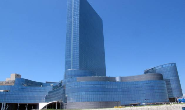 This May 30, 2014 photo shows the exterior of Revel Casino Hotel in Atlantic City N.J. The $2.4 billion casino filed for bankruptcy on June 19, 2014, the second time in as many years it sought bankruptcy court protection, and warned that it will shut down this summer if a buyer cannot be found. (AP Photo/Wayne Parry)
