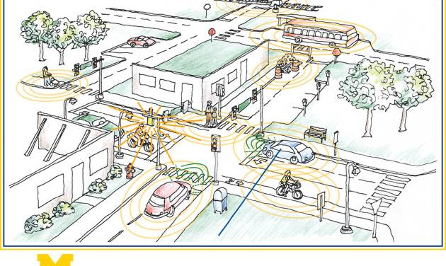 This image provided Tuesday, May 6, 2014, by the University of Michigan shows a concept design for the Mobility Transformation Facility, a 32-acre simulated urban environment planned for the school's campus in Ann Arbor, Mich. General Motors, Ford and Toyota are joining the University of Michigan in establishing a testing site for driverless cars that will simulate a cityscape and will work with the school to help make such vehicles commercially viable. (AP Photo/University of Michigan)