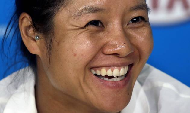 Li Na of China speaks during a press conference ahead of Saturday's women's singles final against Dominika Cibulkova of Slovakia, at the Australian Open tennis championship in Melbourne, Australia, Friday, Jan. 24, 2014. (AP Photo/Aijaz Rahi)