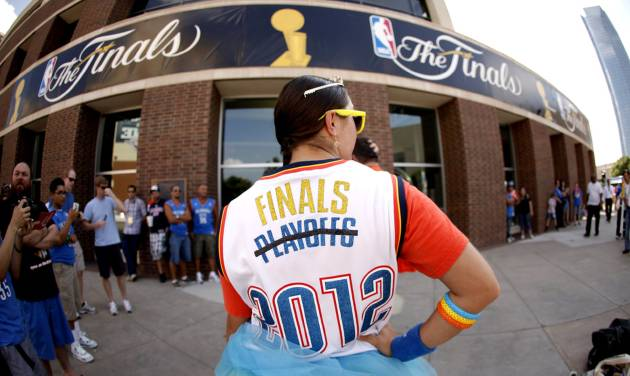 Nauzi Jagosh stands outside the arena before Game 2 of the NBA Finals between the Oklahoma City Thunder and the Miami Heat at Chesapeake Energy Arena in Oklahoma City, Thursday, June 14, 2012. Photo by Bryan Terry, The Oklahoman