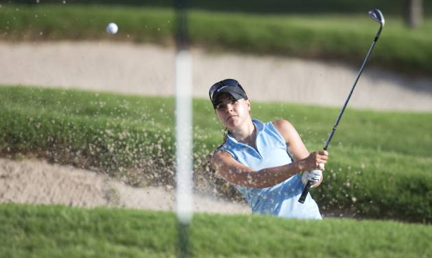 Anne-Catherine Tanguay plays out of a greenside bunker on the third hole during the quarterfinal round of match play at the 2013 U.S. Women's Public Links at Jimmie Austin OU Golf Club in Norman, Okla. on Friday, June 21, 2013.  (Copyright USGA/Joel Kowsky)