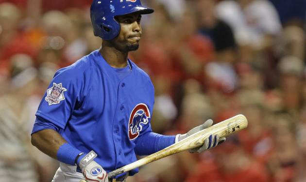Chicago Cubs' Arismendy Alcantara walks to the dugout after striking out in the eighth inning of a baseball game against the Cincinnati Reds, Wednesday, July 9, 2014, in Cincinnati. Cincinnati won 4-1. (AP Photo/Al Behrman)