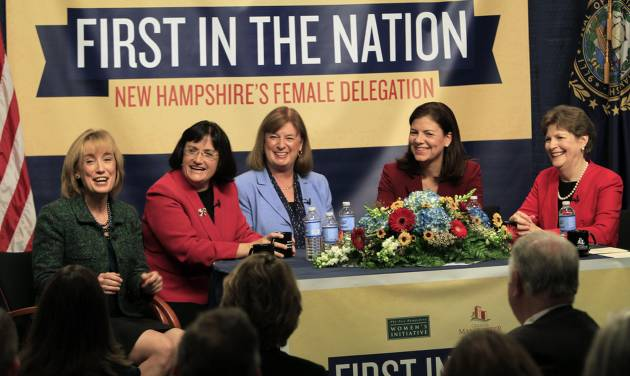 The five women holding New Hampshire's top political offices, from left, Gov.-elect Maggie Hassan, U.S. Reps.-elect Ann McLane Kuster and Carol Shea-Porter, and U.S. Sens. Kelly Ayotte and Jeanne Shaheen discuss what their lives are like as female politicians during a panel discussion Friday Dec. 7, 2012 at the Institute of Politics at Saint Anselm College in Manchester, N.H. (AP Photo/Jim Cole)