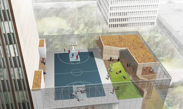 This rendering shows a rooftop basketball court overlooing Kerr Park that will be part of a new building planned by SandRidge Energy. Rendering Provided By SandRidge