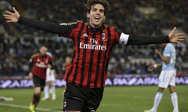 FILE - In this March 23, 2014 file photo, AC Milan's Kaka celebrates after he scored during a soccer match against Lazio at Rome's Olympic Stadium. Kaka has ended his contract with AC Milan, leaving him free to sign with Orlando City Soccer Club. Kaka will fly to the United States on Monday night, June 30, 2014, to sign with the new Major League Soccer franchise. (AP Photo/Andrew Medichini, File)