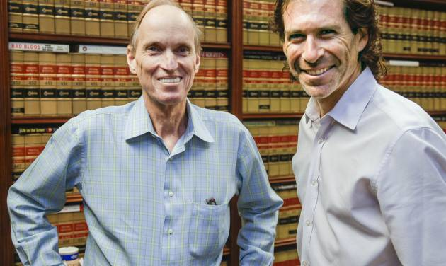 In a Monday, June 17, 2013, photo attorneys Richard Strafer, left, and Howard Srebnick are shown in Miami. The two attorneys will represent Kerri and Brian Kaley of New York, during an appeal before the U.S. Supreme Court to determine whether the government's case against the couple in a medical devices theft case, is strong enough to justify freezing most of their assets and denying them the right to hire the attorney of their choice. (AP Photo/Wilfredo Lee)