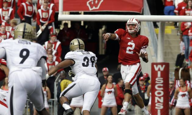Wisconsin quarterback Joel Stave throws a pass during the first half of an NCAA college football game against Purdue Saturday, Sept. 21, 2013, in Madison, Wis. (AP Photo/Morry Gash)