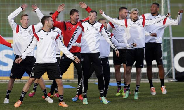 Germany's players  practice during a training session prior to the international friendly soccer match between Germany and Chile in Stuttgart, southern Germany, Monday, March 3, 2014. Germany will face Chile Wednesday. (AP Photo/Matthias Schrader)