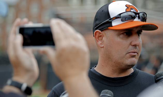 Oklahoma State baseball coach Josh Holliday speaks to the media before the team leaves for its regional in Louisville on Tuesday, May 28, 2013 in Stillwater, Okla.  Photo by Chris Landsberger, The Oklahoman