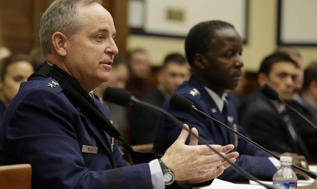 Air Force Chief of Staff Gen. Mark Welsh III, left, and Air Force Gen. Edward Rice, Jr., testifies on Capitol Hill in Washington, Wednesday, Jan. 23, 2013, before a House Armed Services Committee hearing on sexual misconduct by basic training instructors at Lackland Air Force Base.  (AP Photo/Jacquelyn Martin)